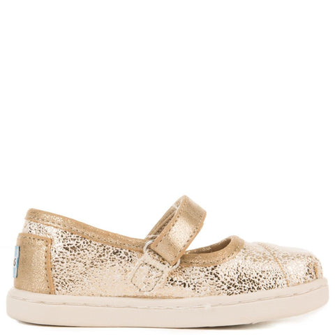 Tiny Toms: Gold Matallic Foil Mary Jane Flats