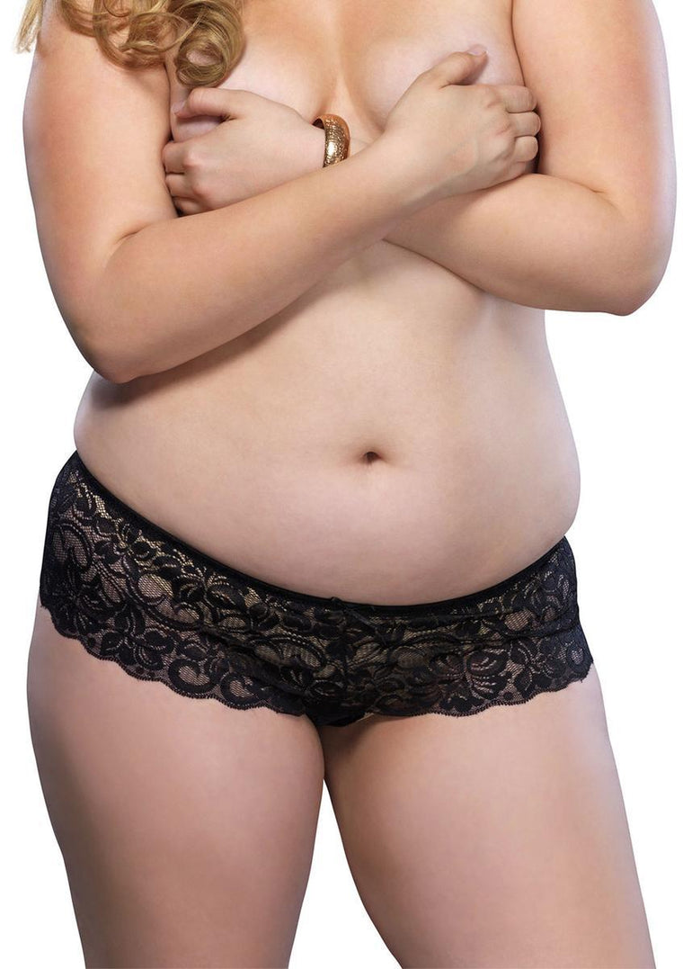 Stretch lace open crotch thong in BLACK