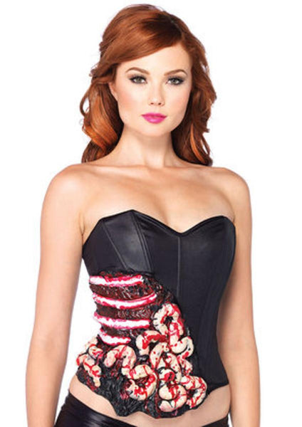 Blood and Guts corset with support boning in BLACK