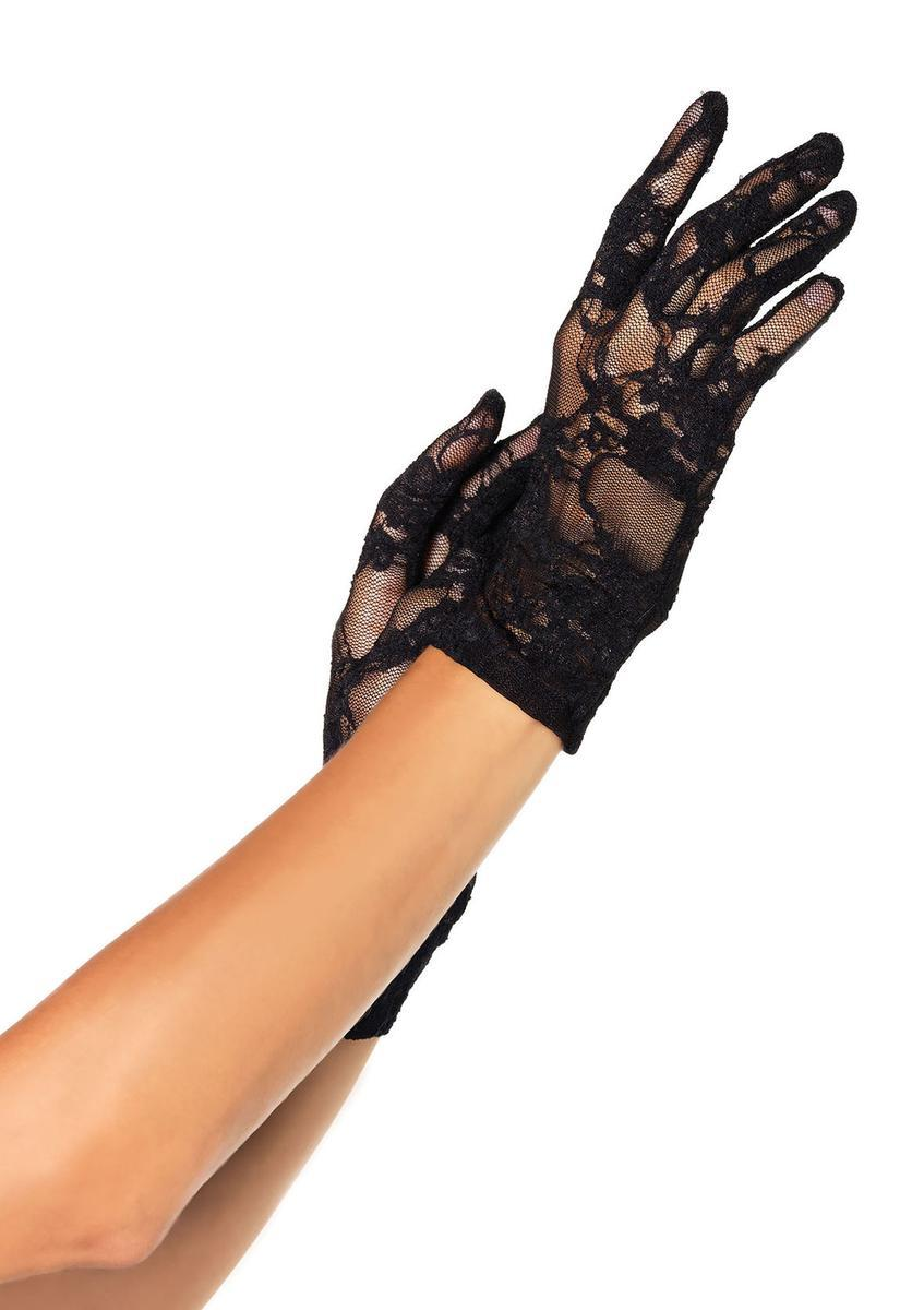 (6Pc.Pack)Stretch Lace Wrist Length Gloves in BLACK