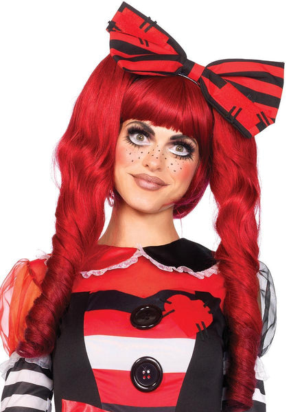 Dolly bob wig with optional ringlet clips in RED