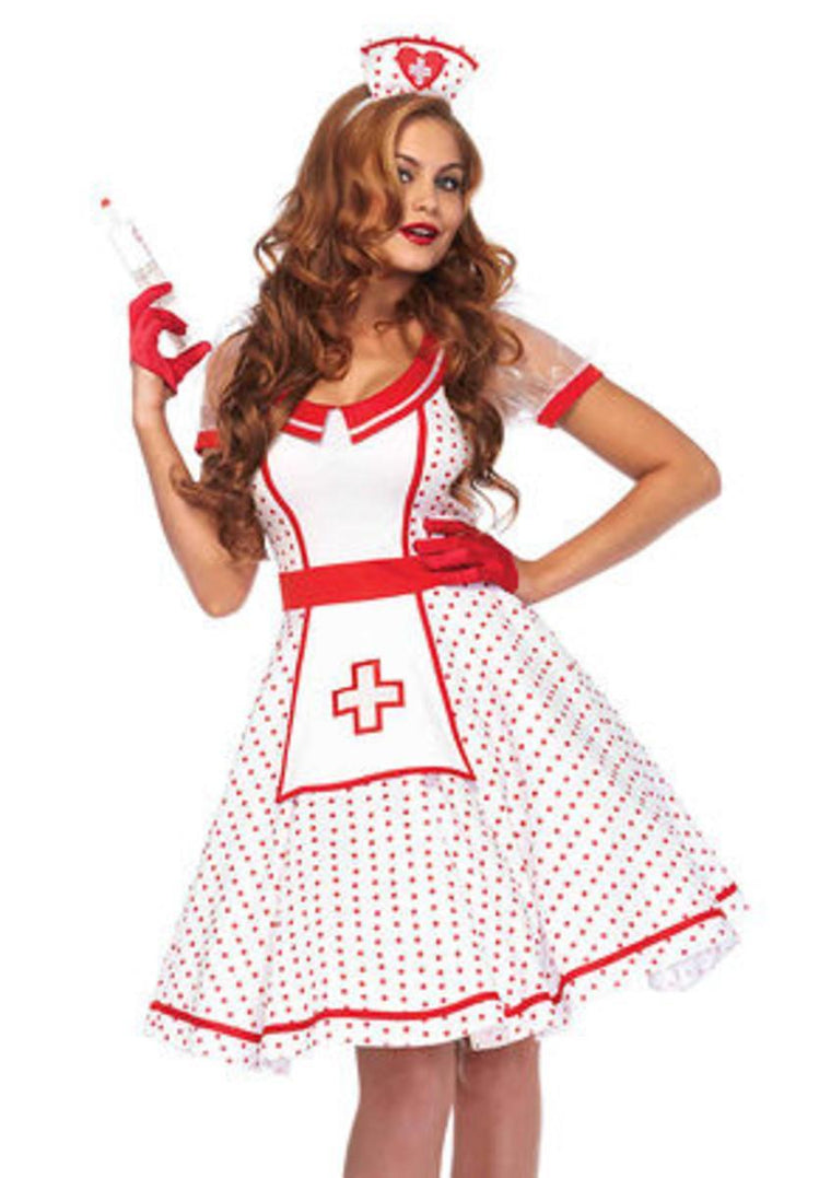 2PC.Bedside Betty tea length apron dress and hat headband in WHITE/RED
