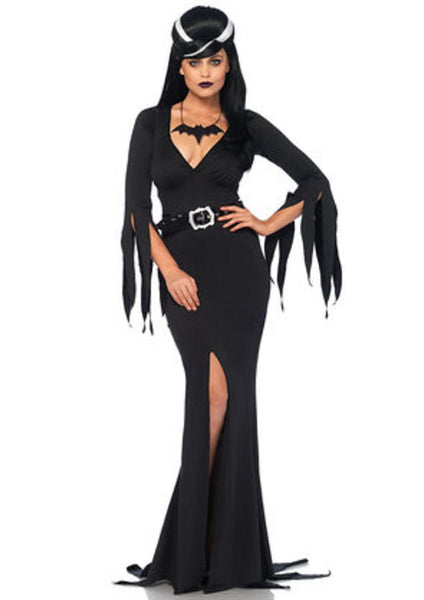 3PC.Immortal Mistress,deep-V body hugging dress,belt,bat necklace in BLACK