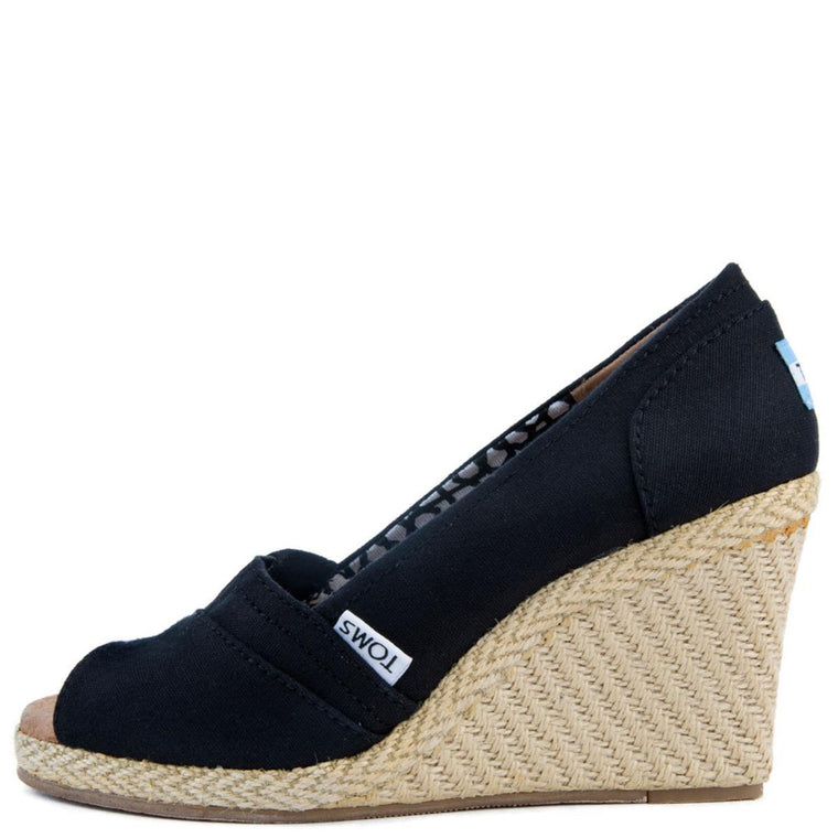 Classic Black Canvas Wedge Sandal
