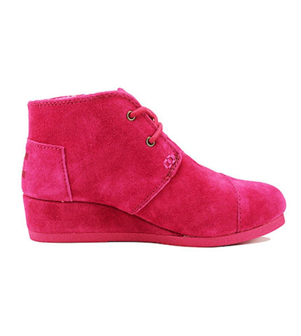 Toms for Kids: Desert Wedge Fuchsia Suede