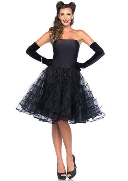 Rockabilly swing dress with tulle skirt and optional straps in BLACK