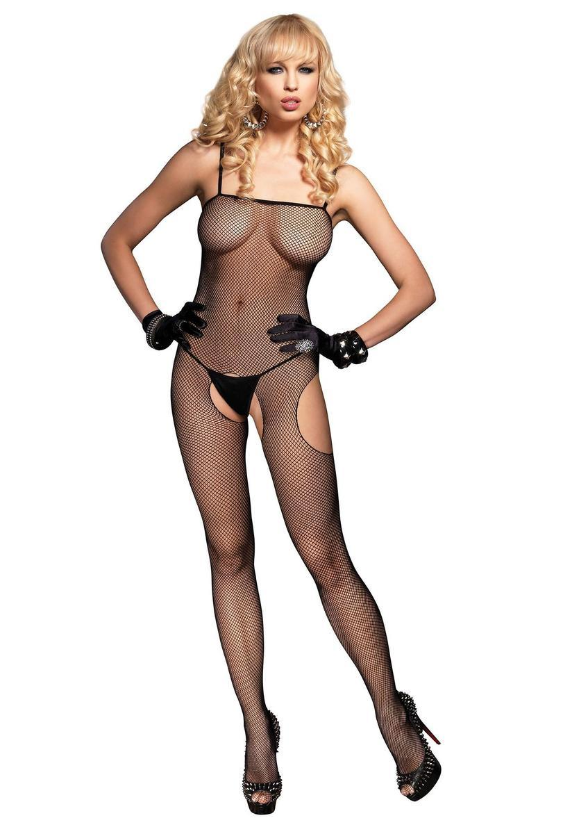 Fishnet Suspender Bodystocking in BLACK