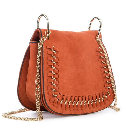 Tangerine Mini Suede Shoulder Purse