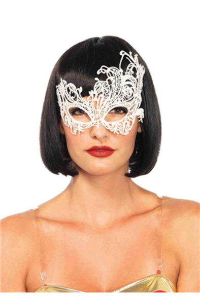 Fantasy venetian applique eye mask in WHITE