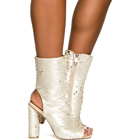 Cape Robbin Connie-57 Women's Nude Heeled Booties