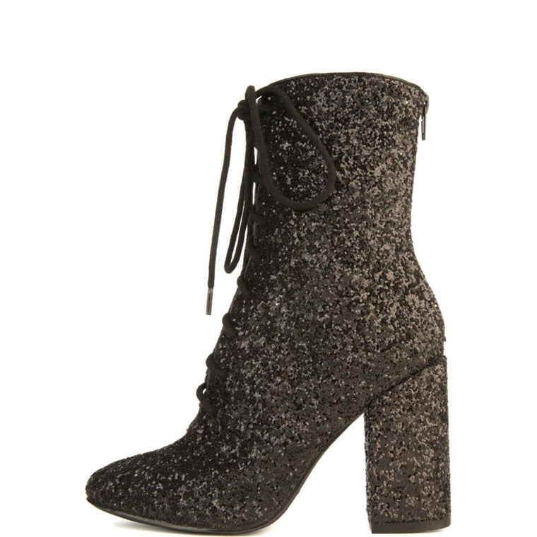 Y.R.U. for Women: Meteor Black Glitter Heeled Boots