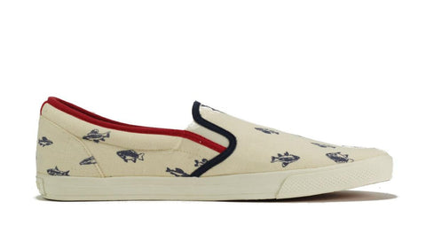 Ben Sherman for Men: Bruce Fishprint Natural Navy Canvas Sneaker