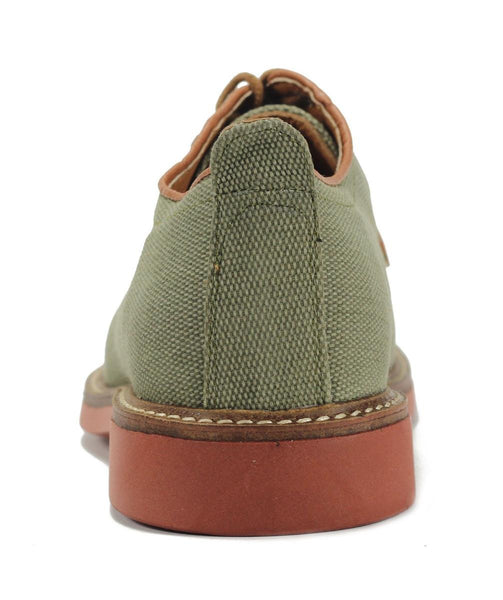 JD Fisk for Men: Volkan Olive Canvas Oxfords