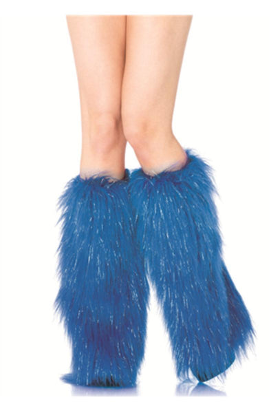 Furry lurex leg warmers in BLUE