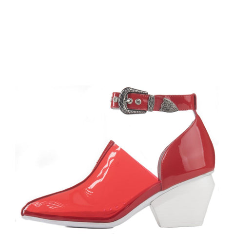 Jeffrey Campbell for Women: Kendall Vinyl Ankle Strap Red  Western Heeled Booties