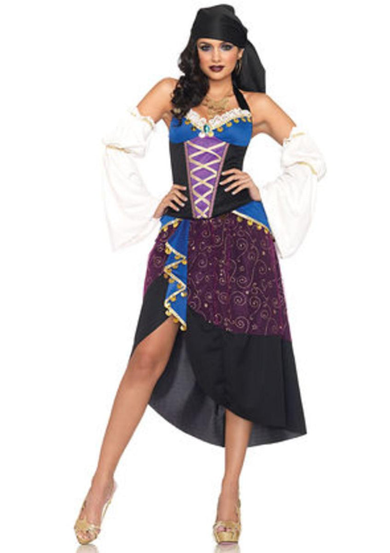 4PC.Tarot Card Gypsy,bustier,high slit skirt,head scarf,sleeves in PURPLE/BLUE/WHI