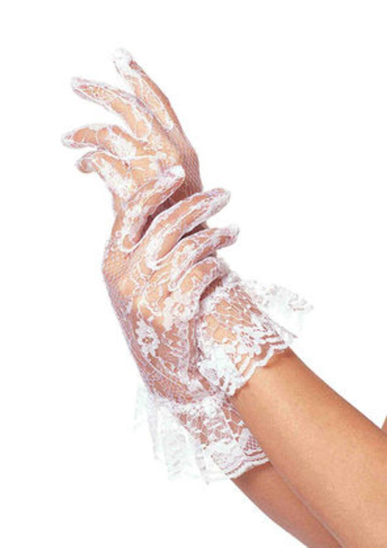 Lace Wrist Lengh Ruffle Gloves(Dz. Pack Only) in WHITE