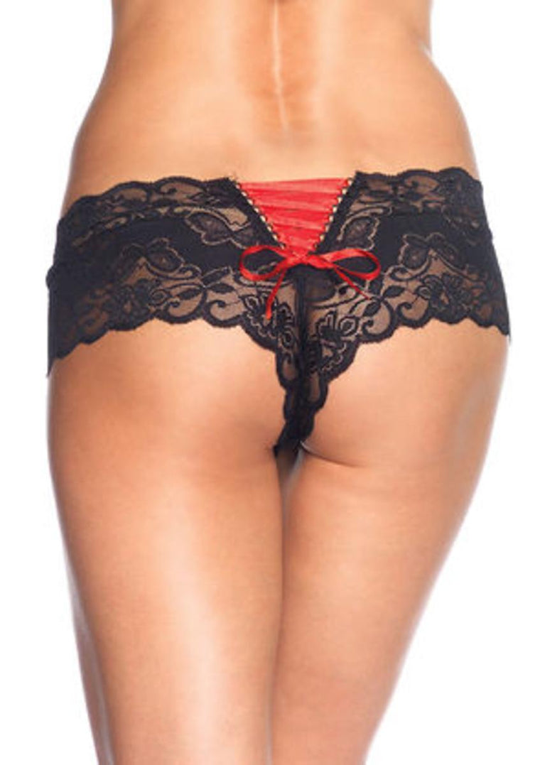 Lace Tanga Shorts W/ Lace Up Back (6Pc. Pack) in BLACK/RED
