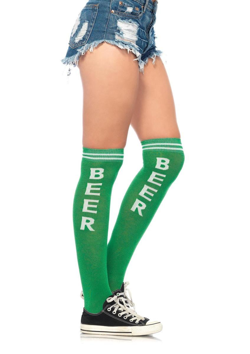 Beer Time acrylic athletic socks in GREEN/WHITE