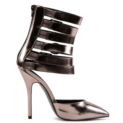 Steve Madden Keyshia Cole: Damas Pewter Gladiator High Heels