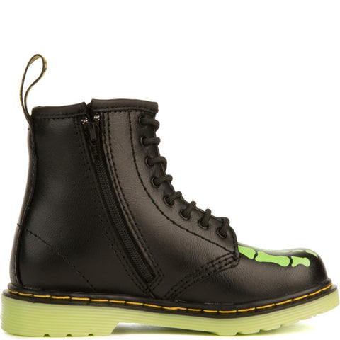Dr. Martens for Toddlers: Brooklee Skelly Black Glow Boots