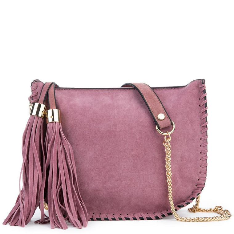 Mauve Fringe Suede Shoulder Purse