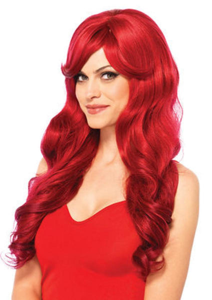 Long wavy wig with adjustable strap in RED