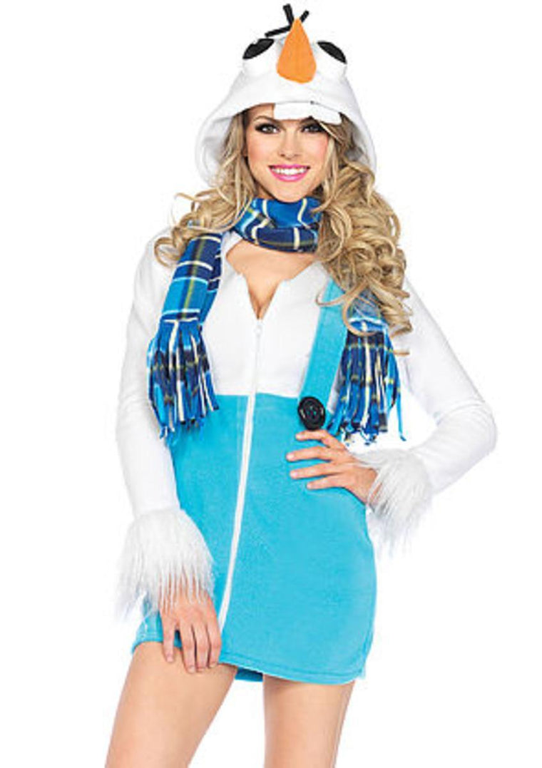 The Cozy Snowman, Zipper Front Fleece Dress with Cozy Scarf in White