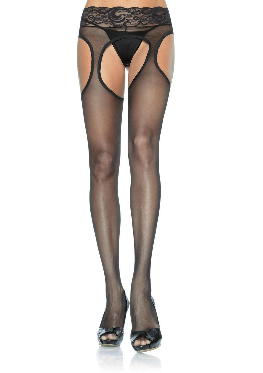 Plus Size Lycra Sheer Garter Panty Hose PLUS SI BLACK