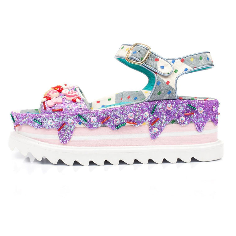 Irregular Choice for Women: Pebble Bay Lilac Platform Sandals