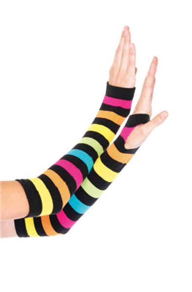 Neon Rainbow Gauntlet Gloves in MULTICOLOR