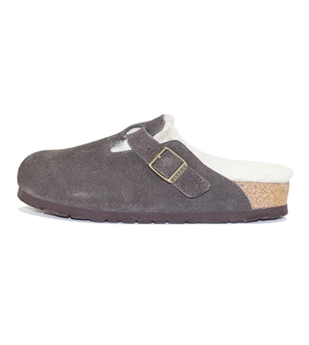 Birkenstocks for Women: Boston Fur Suede Mocha Sandal
