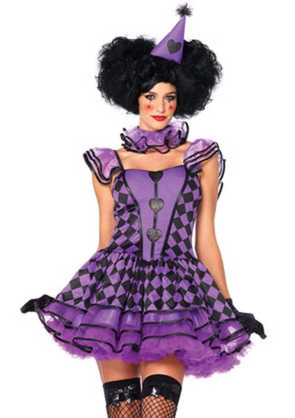 3PC.Pretty Parisian Clown,dress w/organza  tiered skirt,neck piece,hat SML/MED BLACK/PURPLE