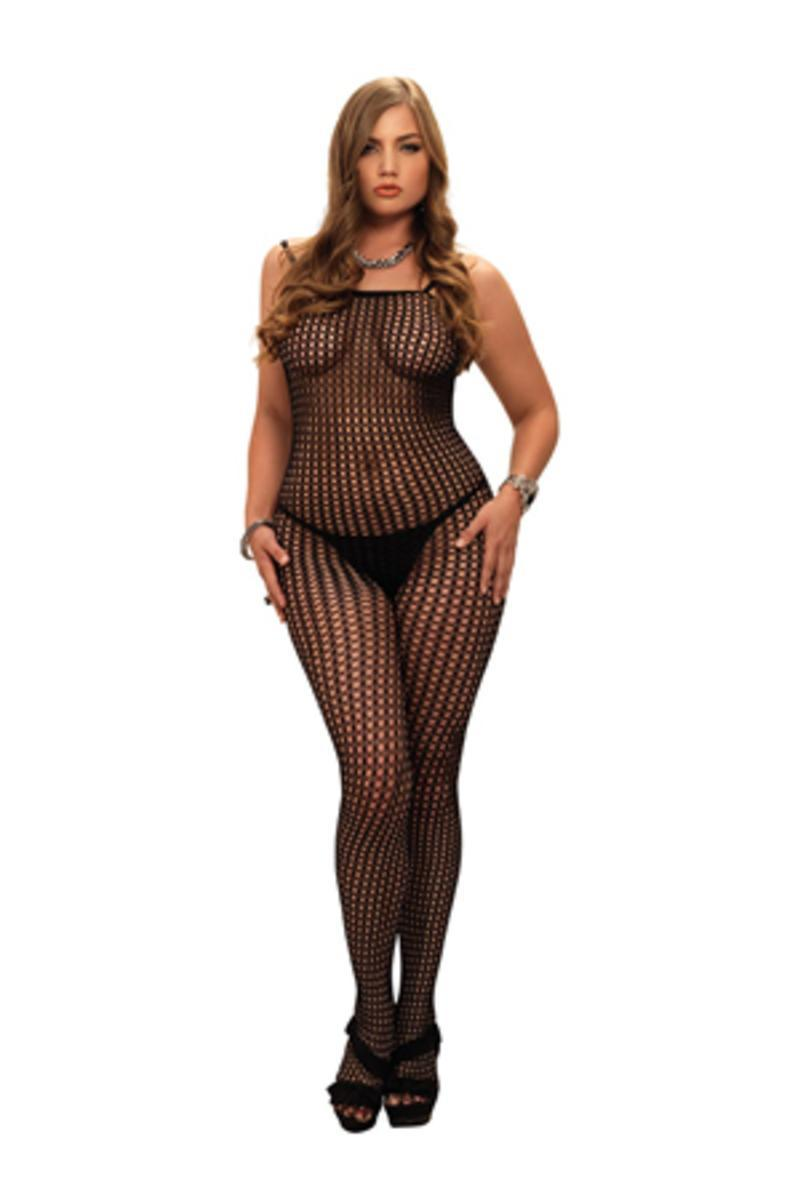 Seamless Crochet Bodystocking in BLACK