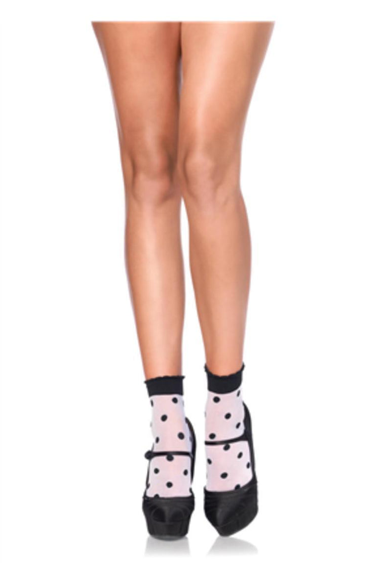 Spots and Dots anklet socks in WHITE/BLACK