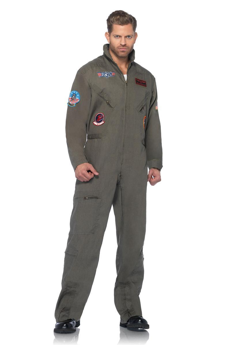 The Top Gun Men's Flight Suit, Zipper Front Flight Suit in Khaki