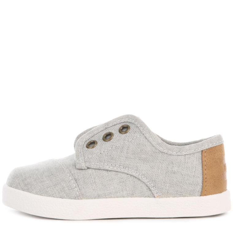 Toms for Toddlers: Drizzle Grey Coated Linen Paseo Sneaker