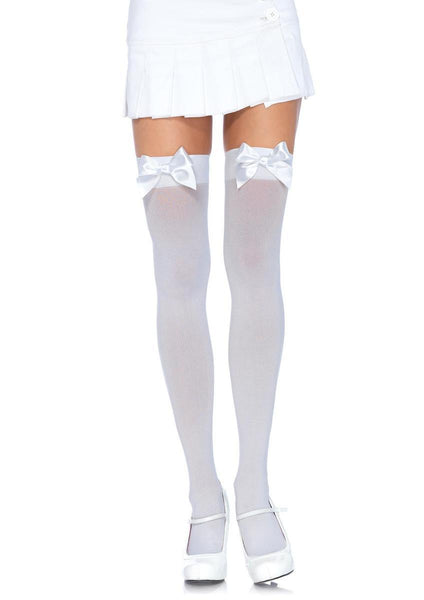 Nylon Over The Knee W/Bow PLUS SI WHITE