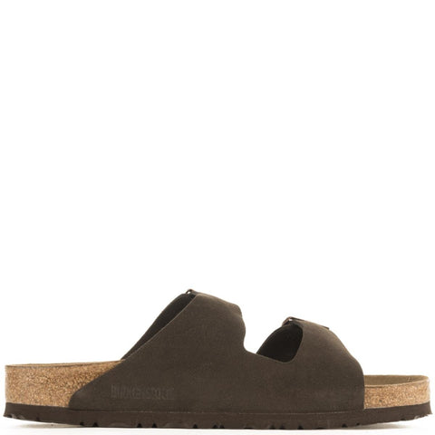 Birkenstock for Men: Arizona Soft Footbed Mocha Suede Sandals