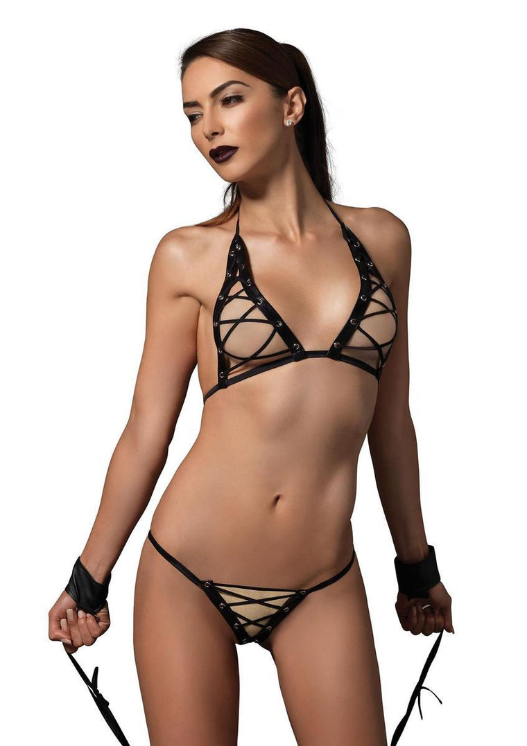 3 PC. Grommet lace up bra, g-string, D-ring wrist/ankle restraints in BLACK