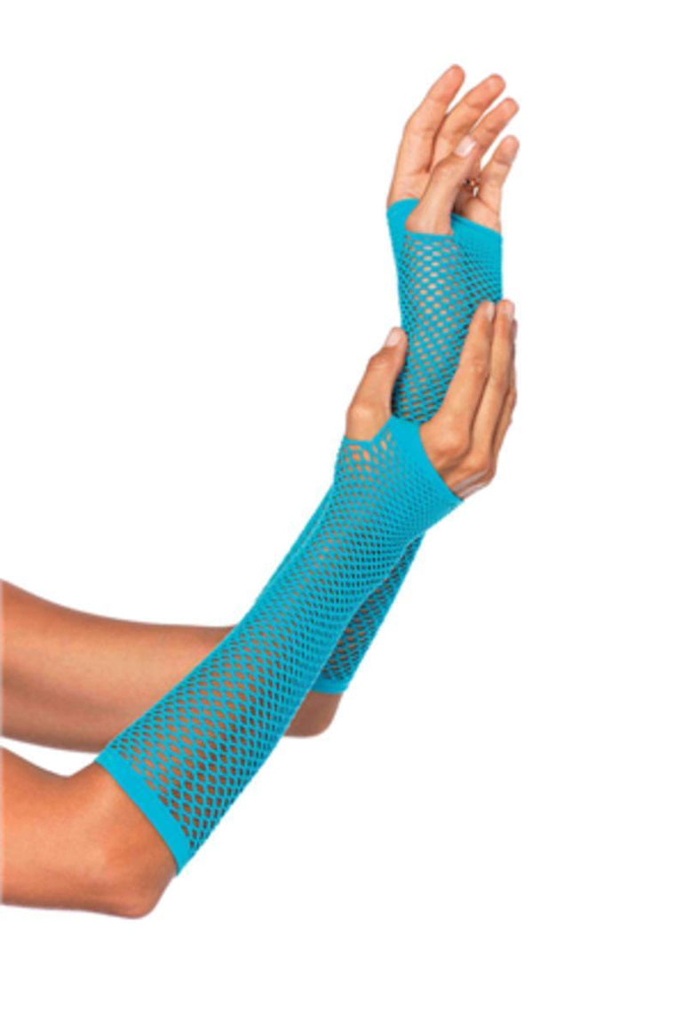 TRIANGLE NET FINGERLESS GLOVES in NEON BLUE