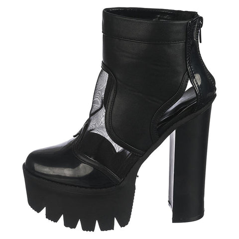 Women's High Heel Platform Boot Rocker 06