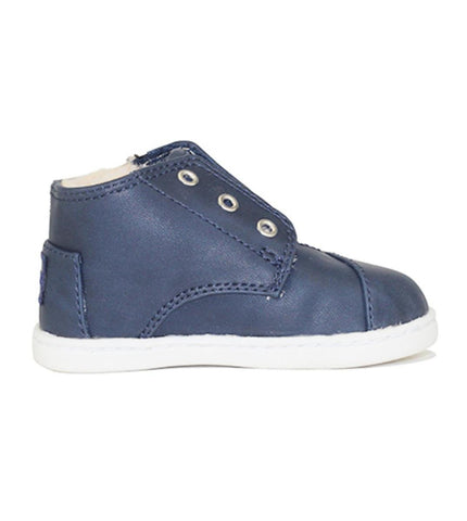 Tiny Toms: Paseo Mid Blue Synthetic Leather