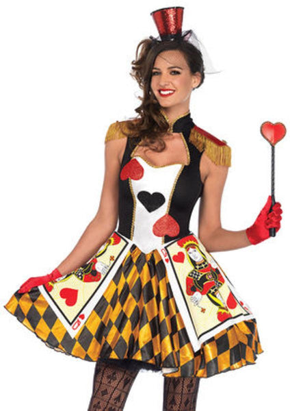 Queen's Card Guard,heart keyhole dress w/card skirt,fringe epaulette in MULTICOLOR