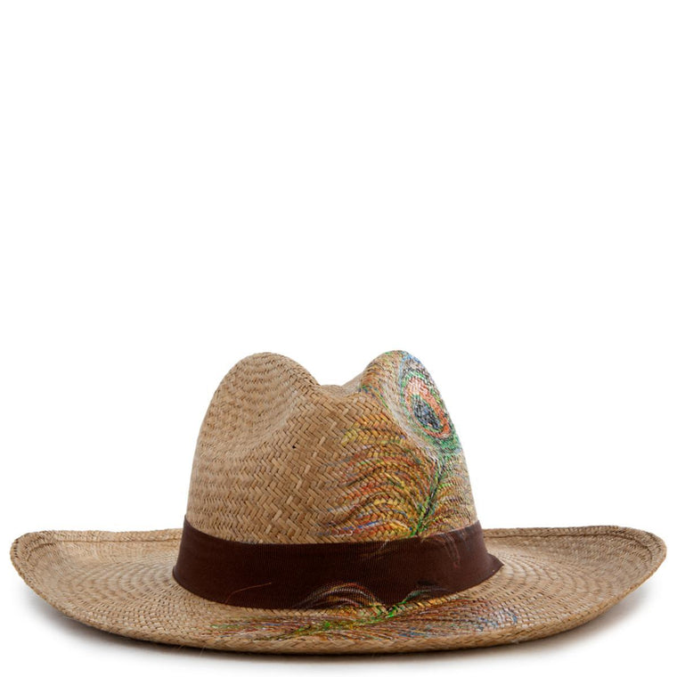Peacock Brown Panama Hat Size M