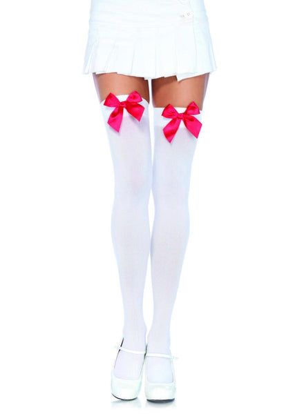 Nylon Over The Knee W/Bow in WHITE/RED