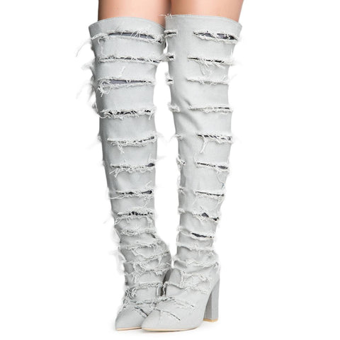 Beautiful-8 Ripped Heeled Thigh High Boots