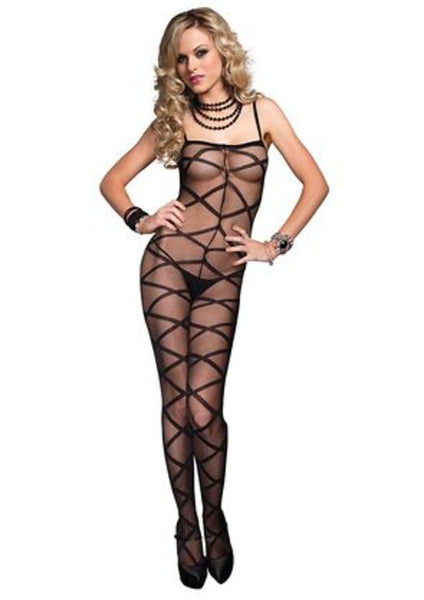 Criss Cross Sheer Bodystocking in BLACK