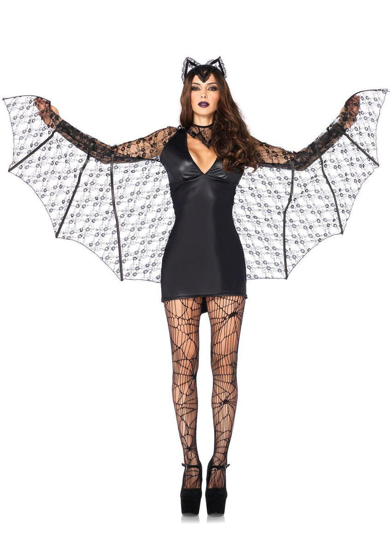 3PC.Moonlight Bat,wet look dress w/wing sleeves,neck piece,headband in BLACK