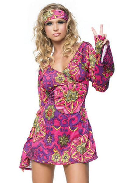 2Pc. Retro Print Bell Sleeves Go Go Dress W/ Head Band